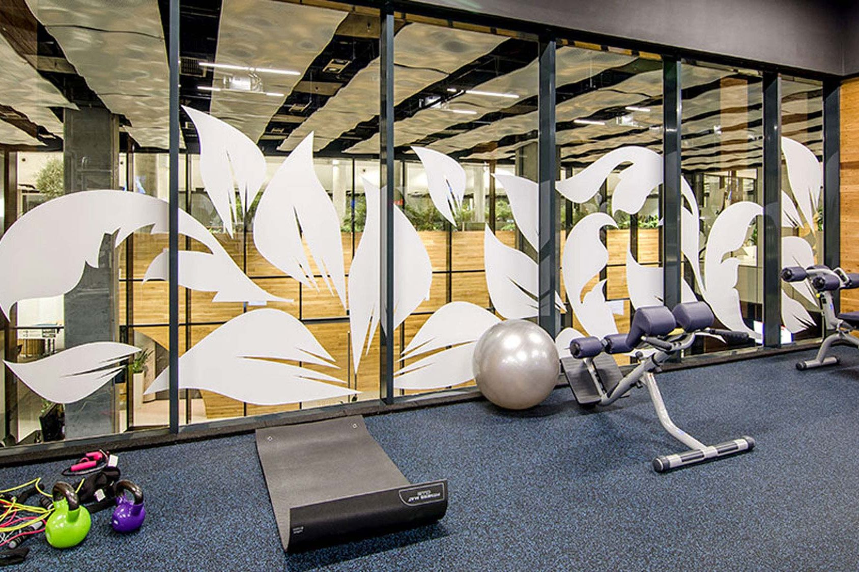 Gym with decorated glass wall