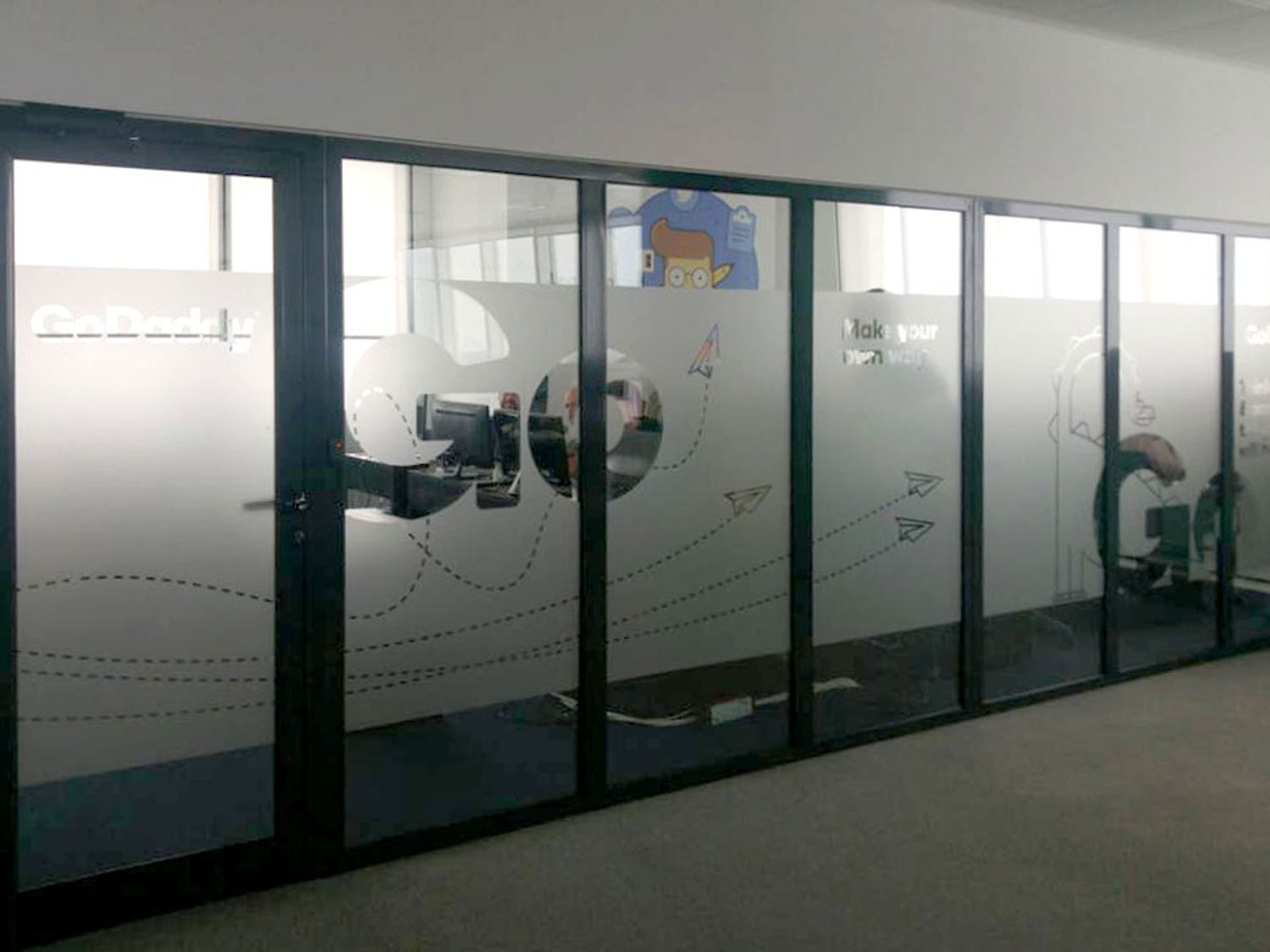 Frosted glass wall