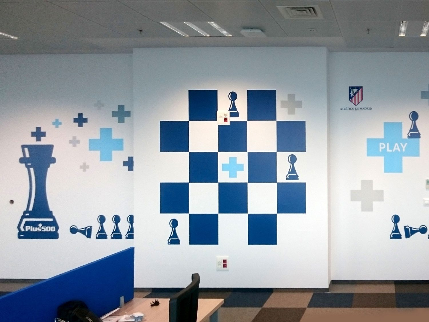 Wall decorated with stylised chess images